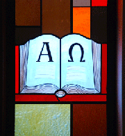 The Bible on a stained glass window in our sanctuary.